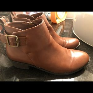 Forever 21 Almond brown booties with gold strap